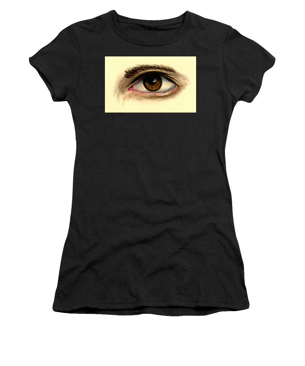 Eye Women's T-Shirt featuring the painting Brown Eye by Michael Vigliotti