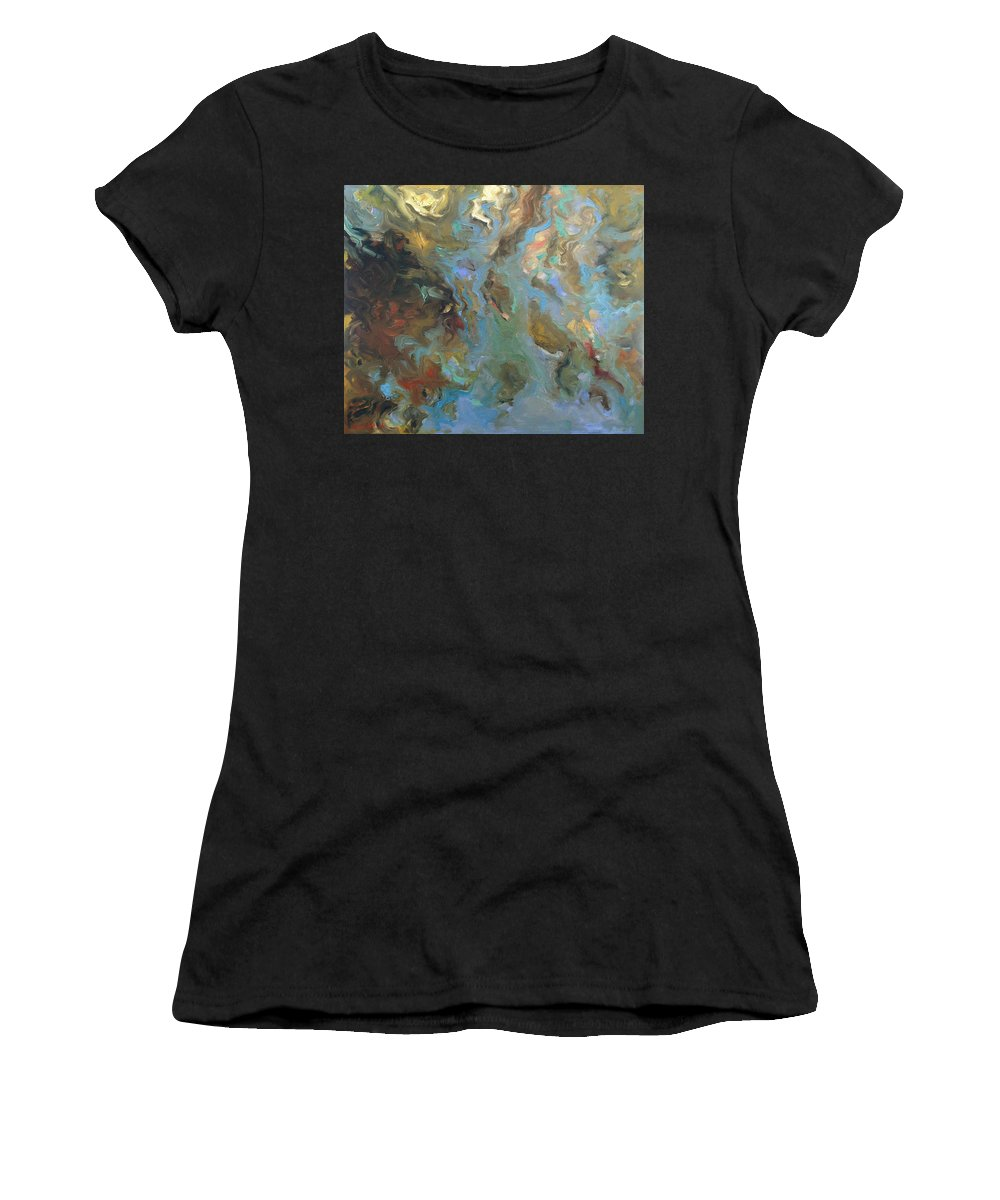 Water Women's T-Shirt (Athletic Fit) featuring the painting Brown by Rick Nederlof
