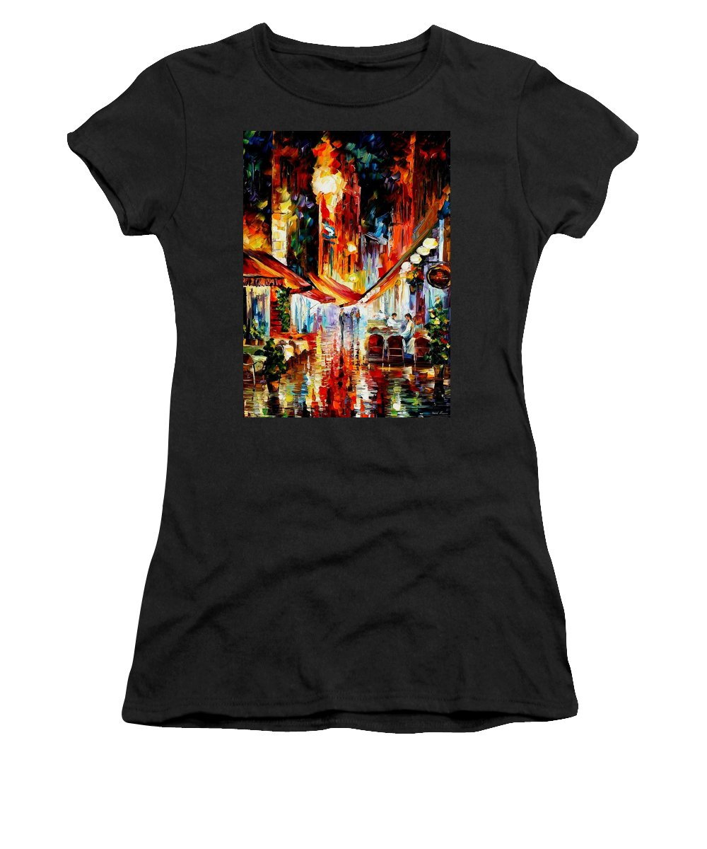 Afremov Women's T-Shirt (Athletic Fit) featuring the painting Brussels - Before The Night Starts by Leonid Afremov