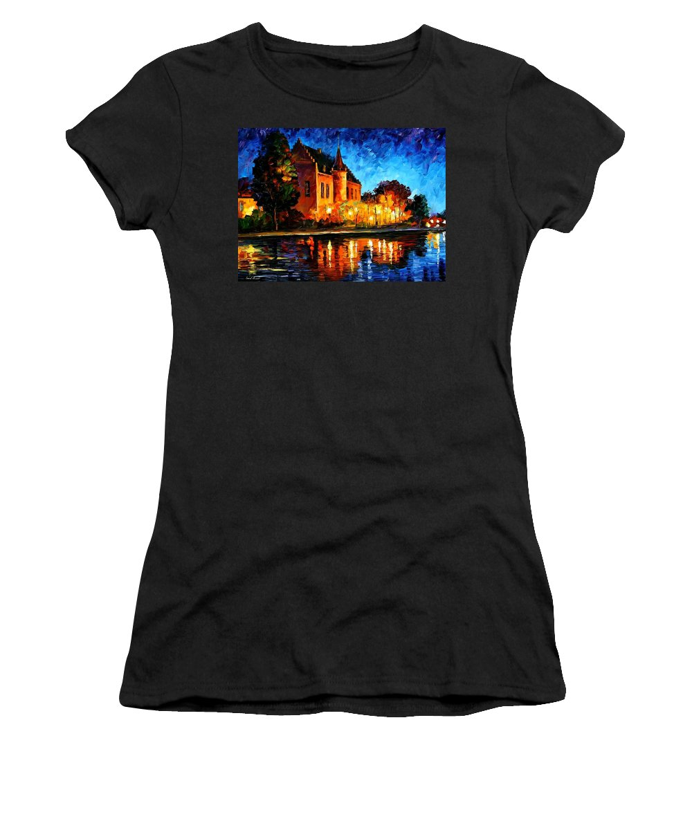 Afremov Women's T-Shirt (Athletic Fit) featuring the painting Brussels - Castle Saventem by Leonid Afremov