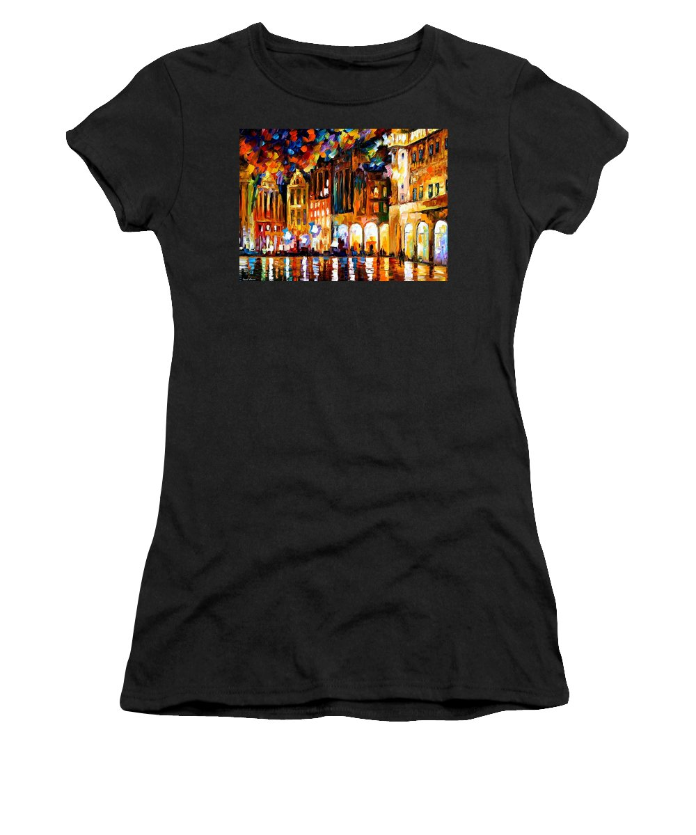 Afremov Women's T-Shirt (Athletic Fit) featuring the painting Brussels by Leonid Afremov