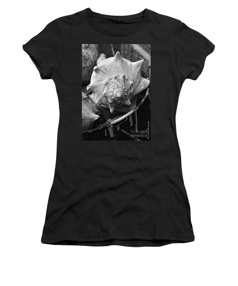 Sea Shells Women's T-Shirt (Athletic Fit) featuring the photograph Bucket Of Sea Shells by Susan Cliett
