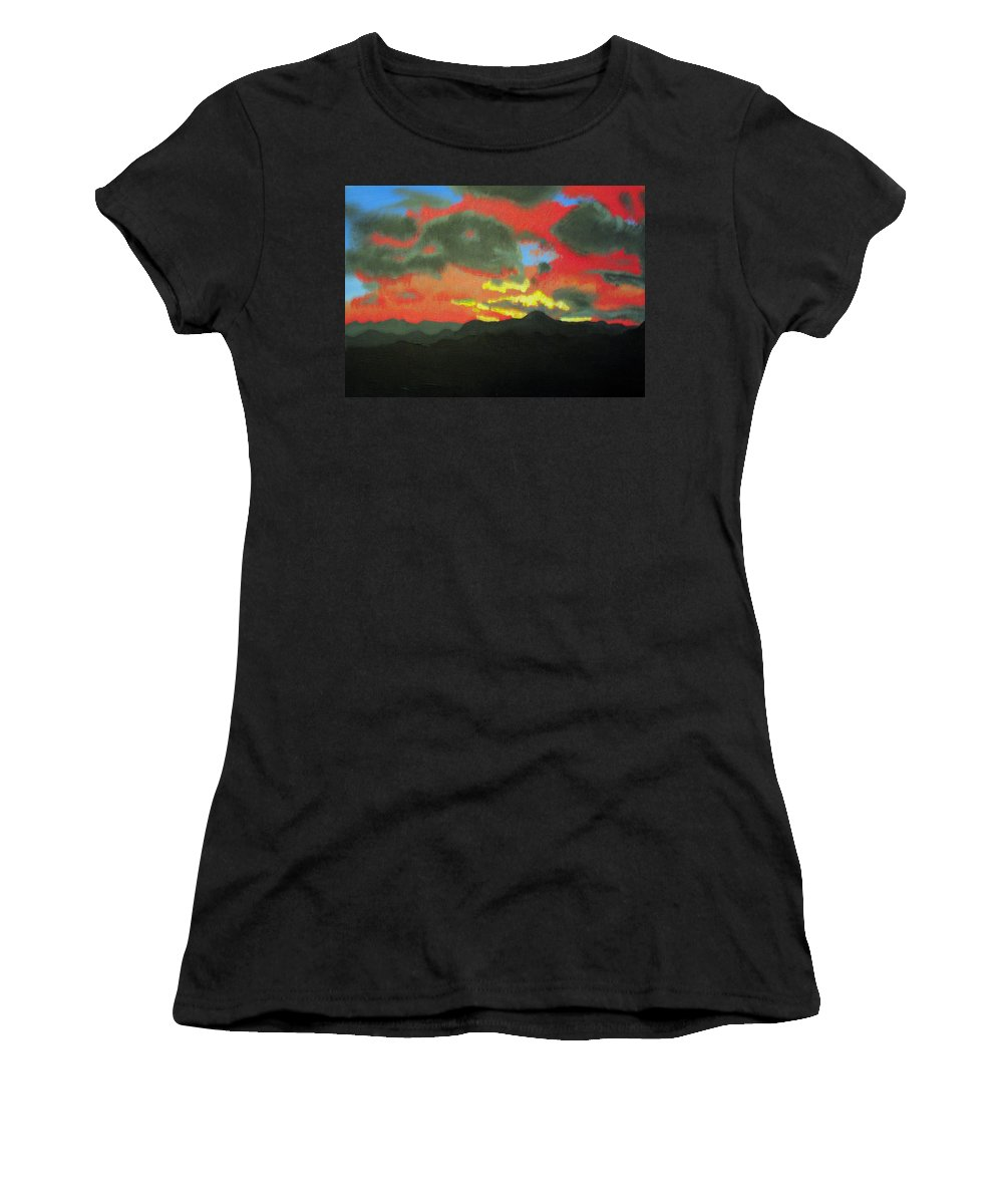 Sunset Women's T-Shirt (Athletic Fit) featuring the painting Buenas Noches by Marco Morales