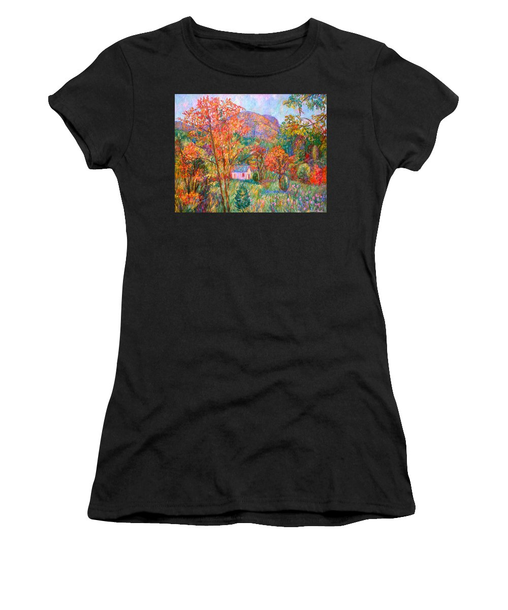 Landscape Women's T-Shirt (Athletic Fit) featuring the painting Buffalo Mountain In Fall by Kendall Kessler