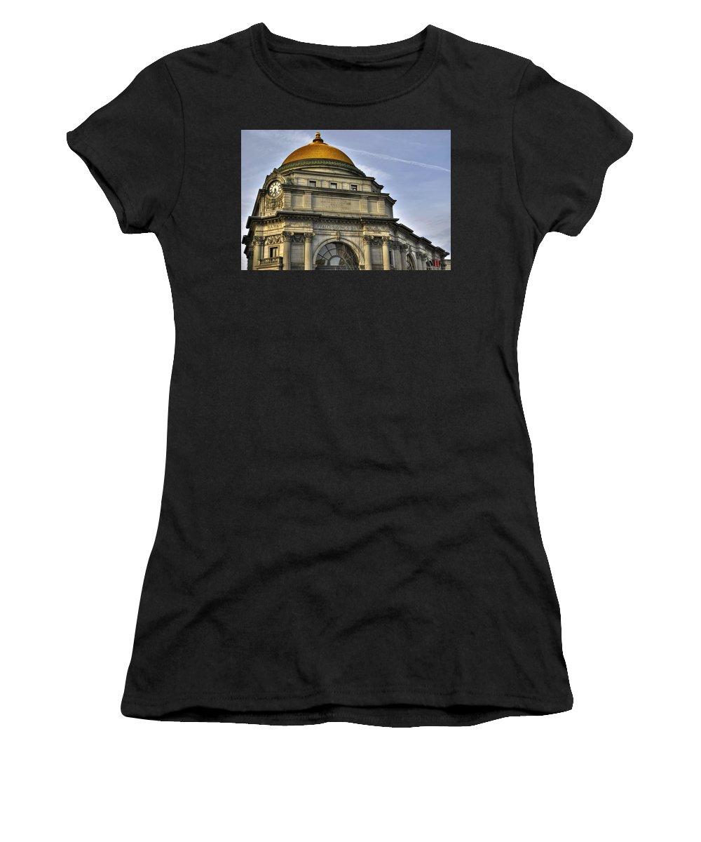 Buffalo Women's T-Shirt featuring the photograph Buffalo Savings Bank by Michael Frank Jr