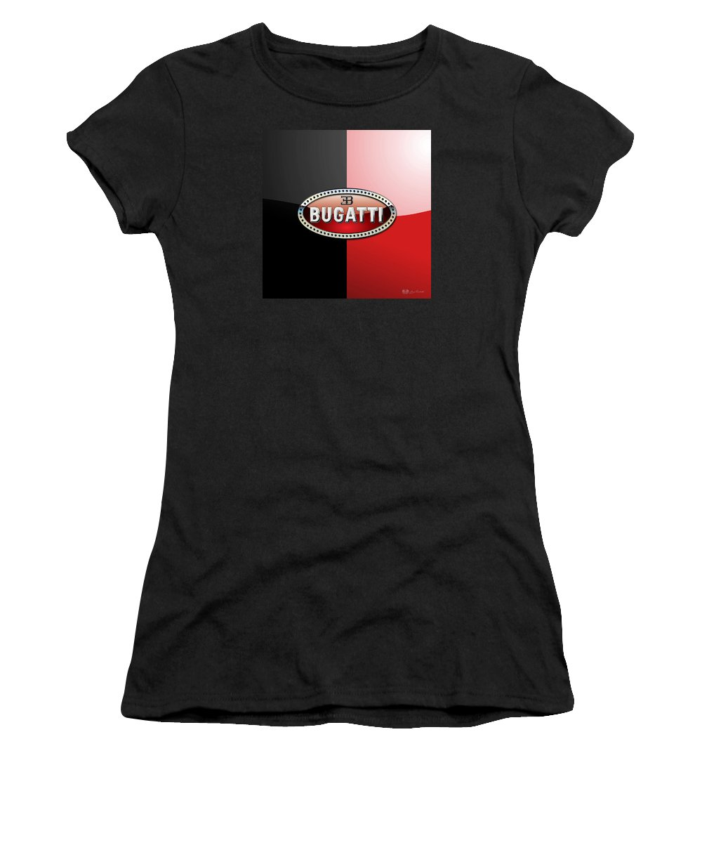 Wheels Of Fortune By Serge Averbukh Women's T-Shirt featuring the photograph Bugatti 3 D Badge on Red and Black by Serge Averbukh