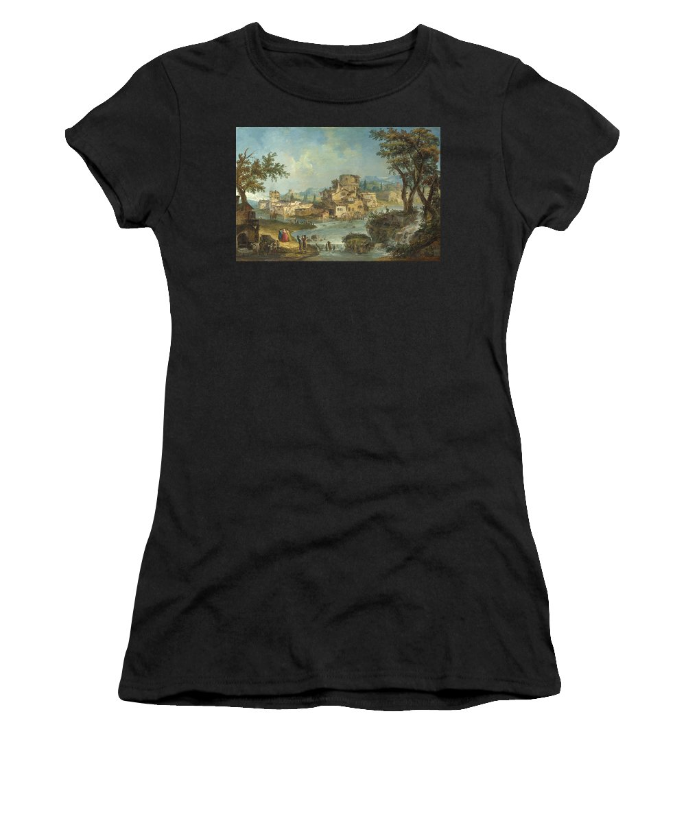 Michele Women's T-Shirt (Athletic Fit) featuring the digital art Buildings And Figures Near A River With Rapids by PixBreak Art