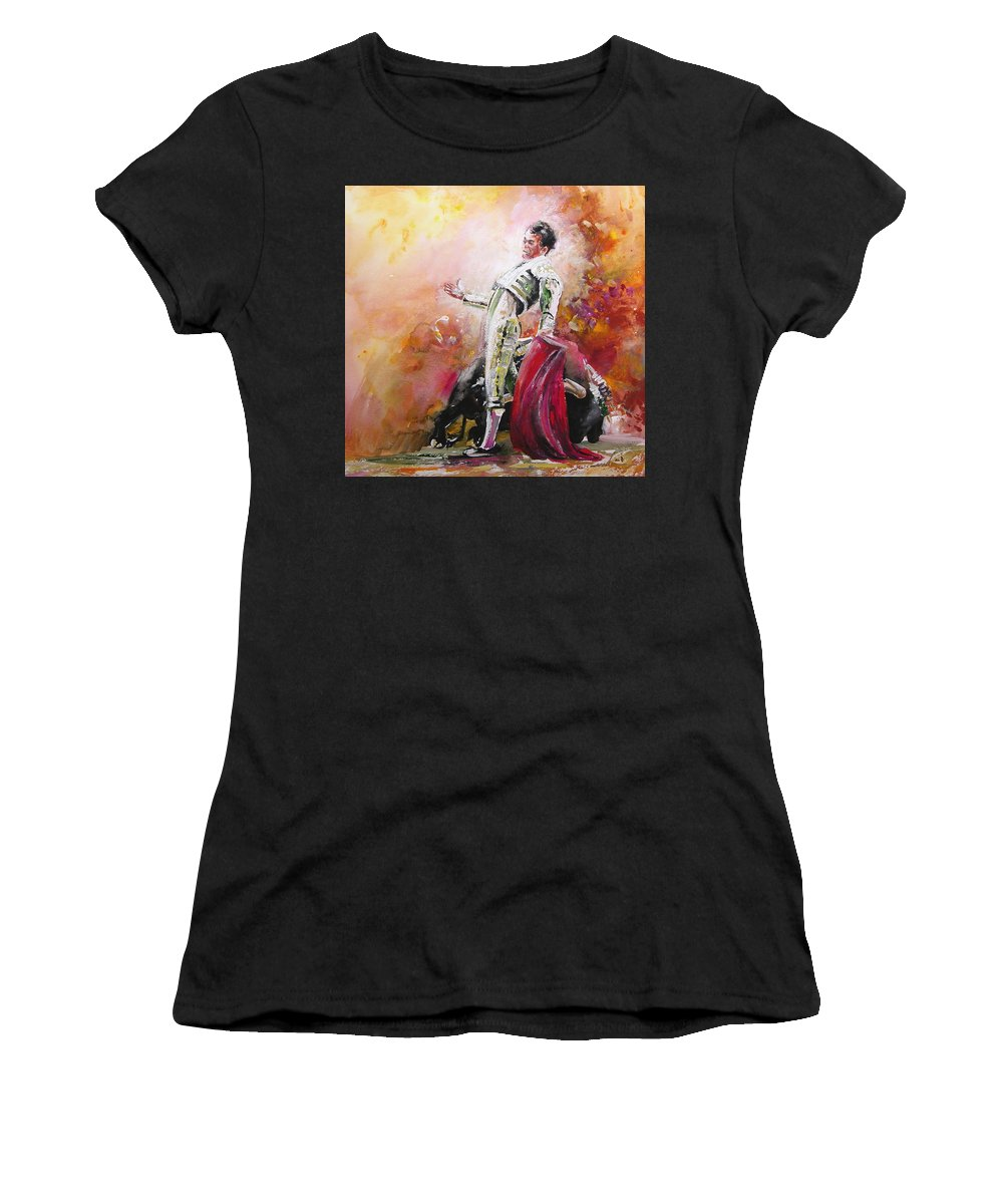 Animals Women's T-Shirt (Athletic Fit) featuring the painting Bullfight 24 by Miki De Goodaboom