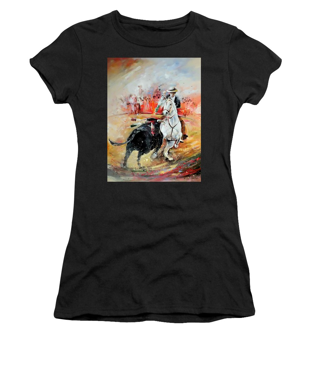 Toros Women's T-Shirt (Athletic Fit) featuring the painting Bullfight 3 by Miki De Goodaboom