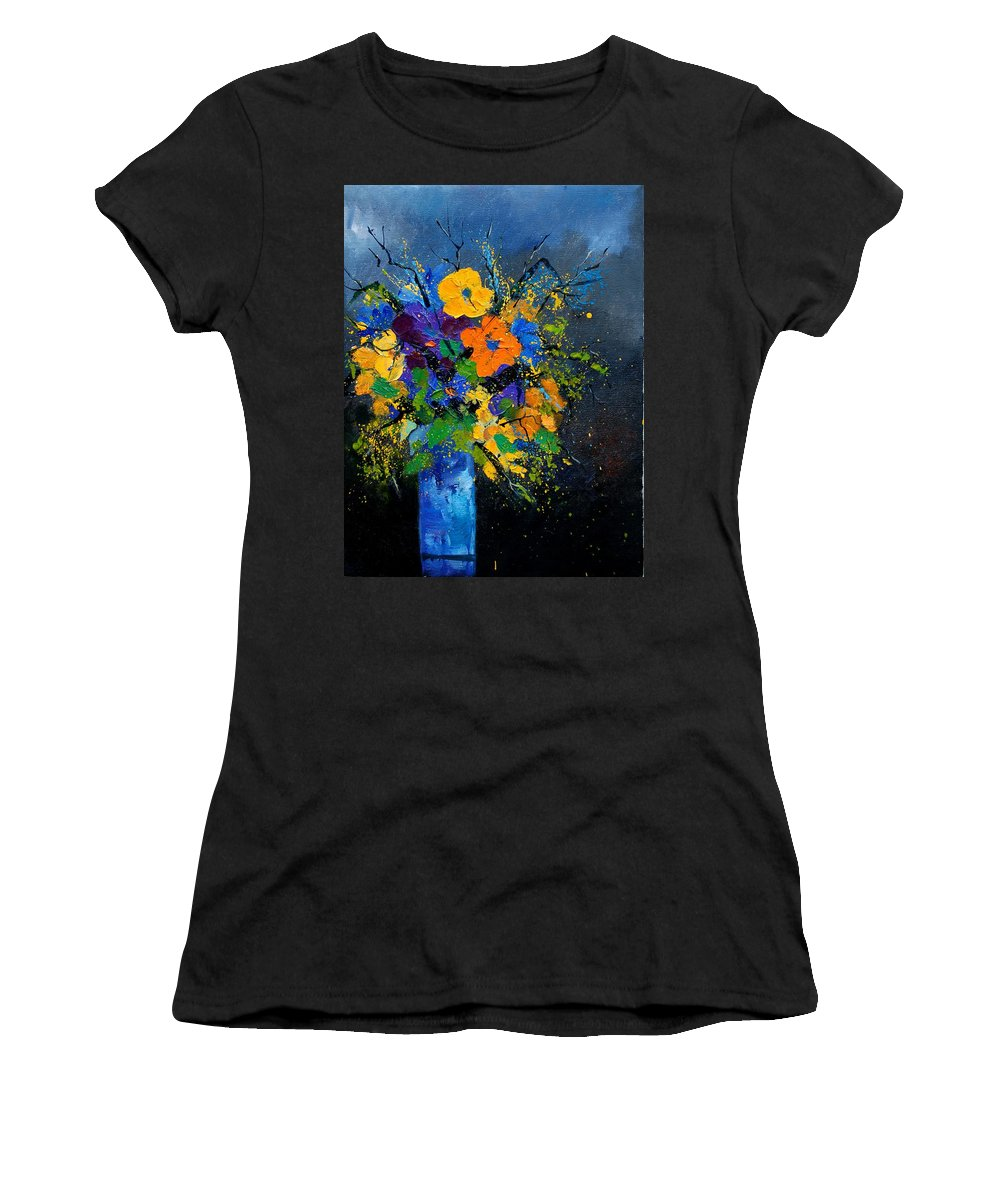Poppies Women's T-Shirt (Athletic Fit) featuring the painting Bunch 1007 by Pol Ledent