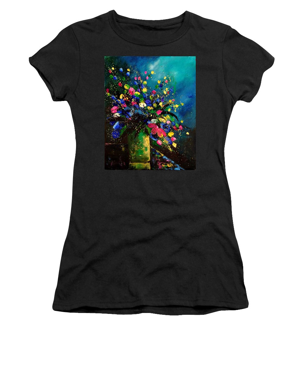 Poppies Women's T-Shirt (Athletic Fit) featuring the painting Bunch 45 by Pol Ledent