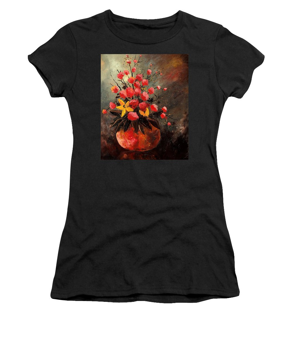 Flowers Women's T-Shirt featuring the painting Bunch 569060 by Pol Ledent