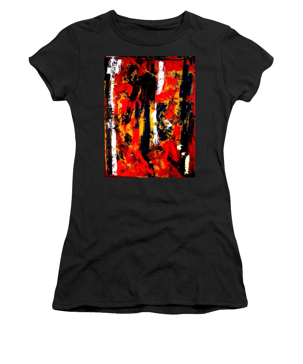 Oil Painting Women's T-Shirt (Athletic Fit) featuring the painting Burning Bright by Fareeha Khawaja