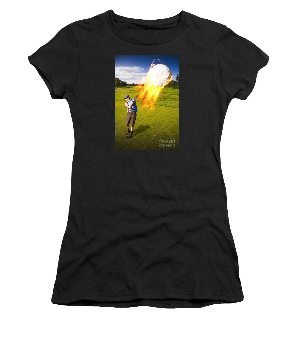 Extreme Women's T-Shirt featuring the photograph Burning Golf Ball by Jorgo Photography - Wall Art Gallery