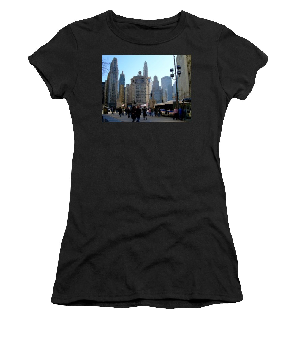 Archtecture Women's T-Shirt (Athletic Fit) featuring the digital art Bus On Miracle Mile by Anita Burgermeister
