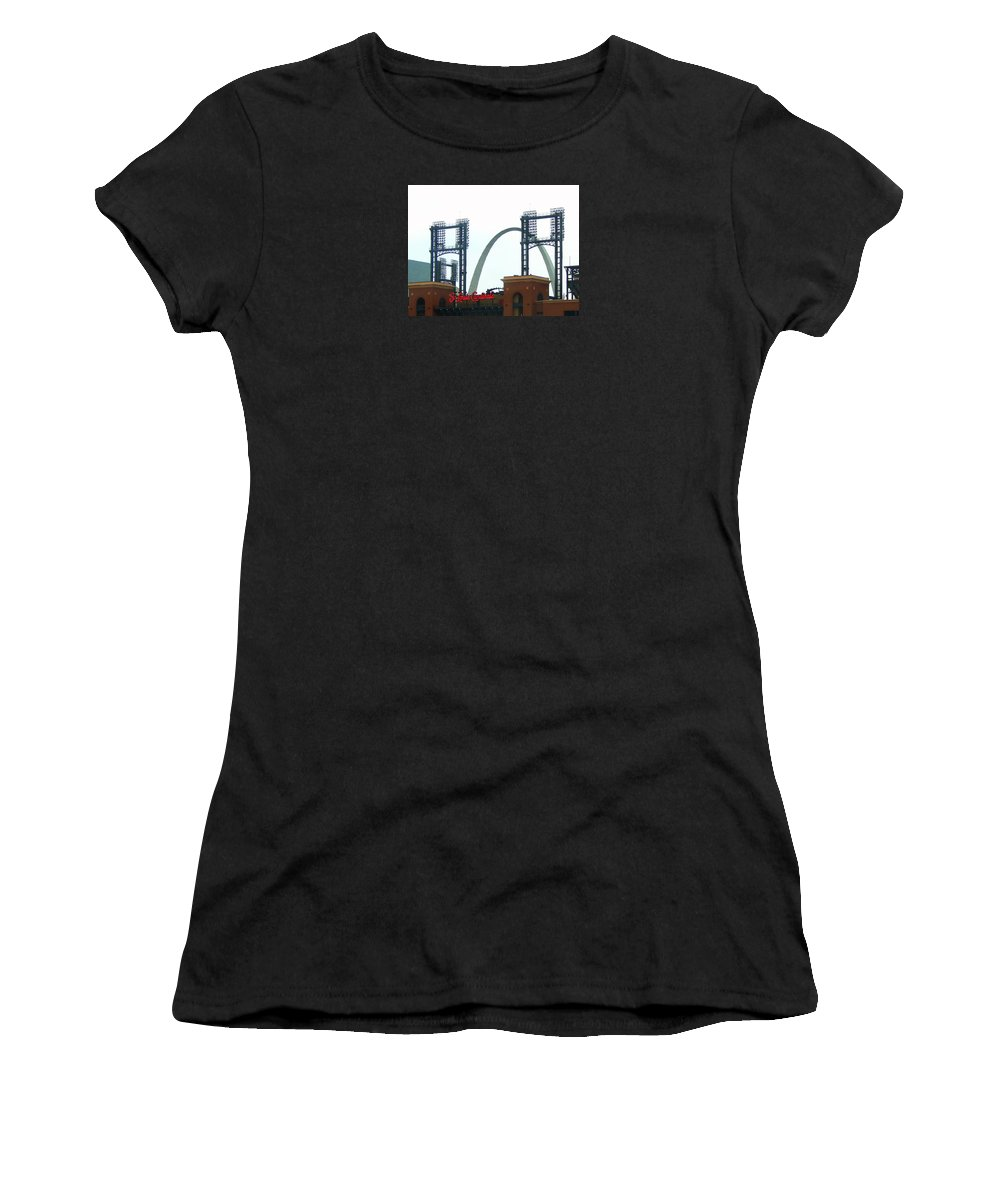 Photograph Women's T-Shirt (Athletic Fit) featuring the photograph Busch Stadium With Arch by J R Seymour