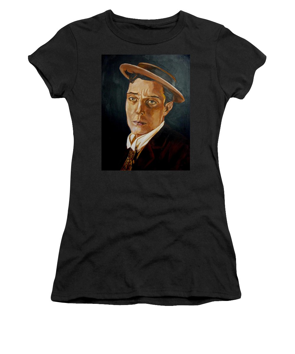 Comedy Women's T-Shirt (Athletic Fit) featuring the painting Buster Keaton Tribute by Bryan Bustard