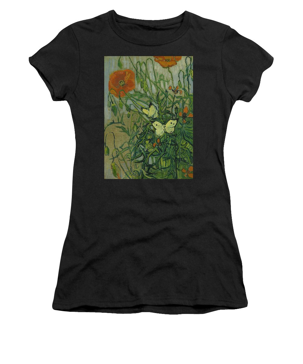 Van Gogh Women's T-Shirt featuring the painting Butterflies And Poppies, 1890. by Vincent van Gogh