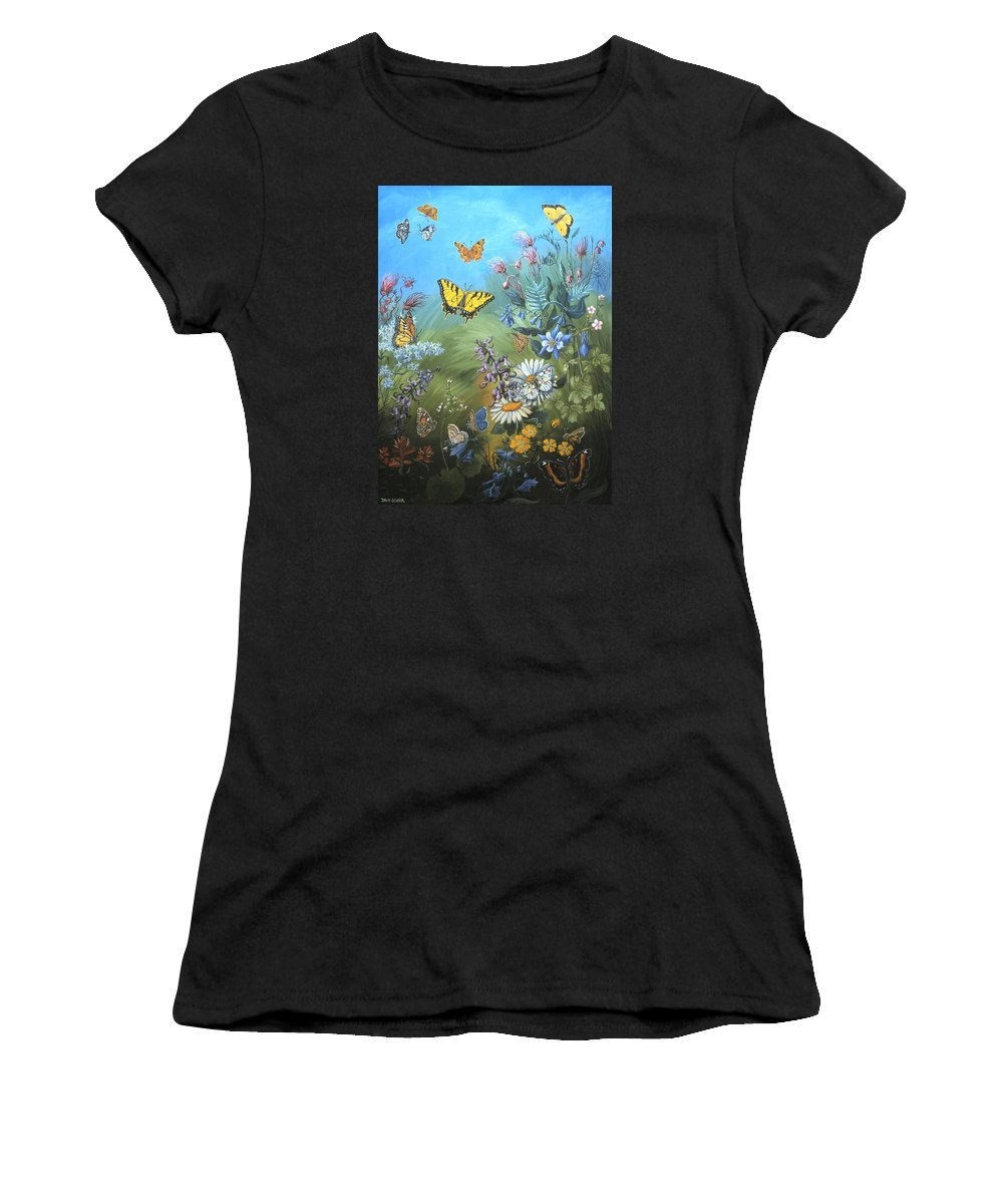 Butterfly Women's T-Shirt (Athletic Fit) featuring the painting Butterflies And Wildflowers Of Wyoming by Dawn Senior-Trask