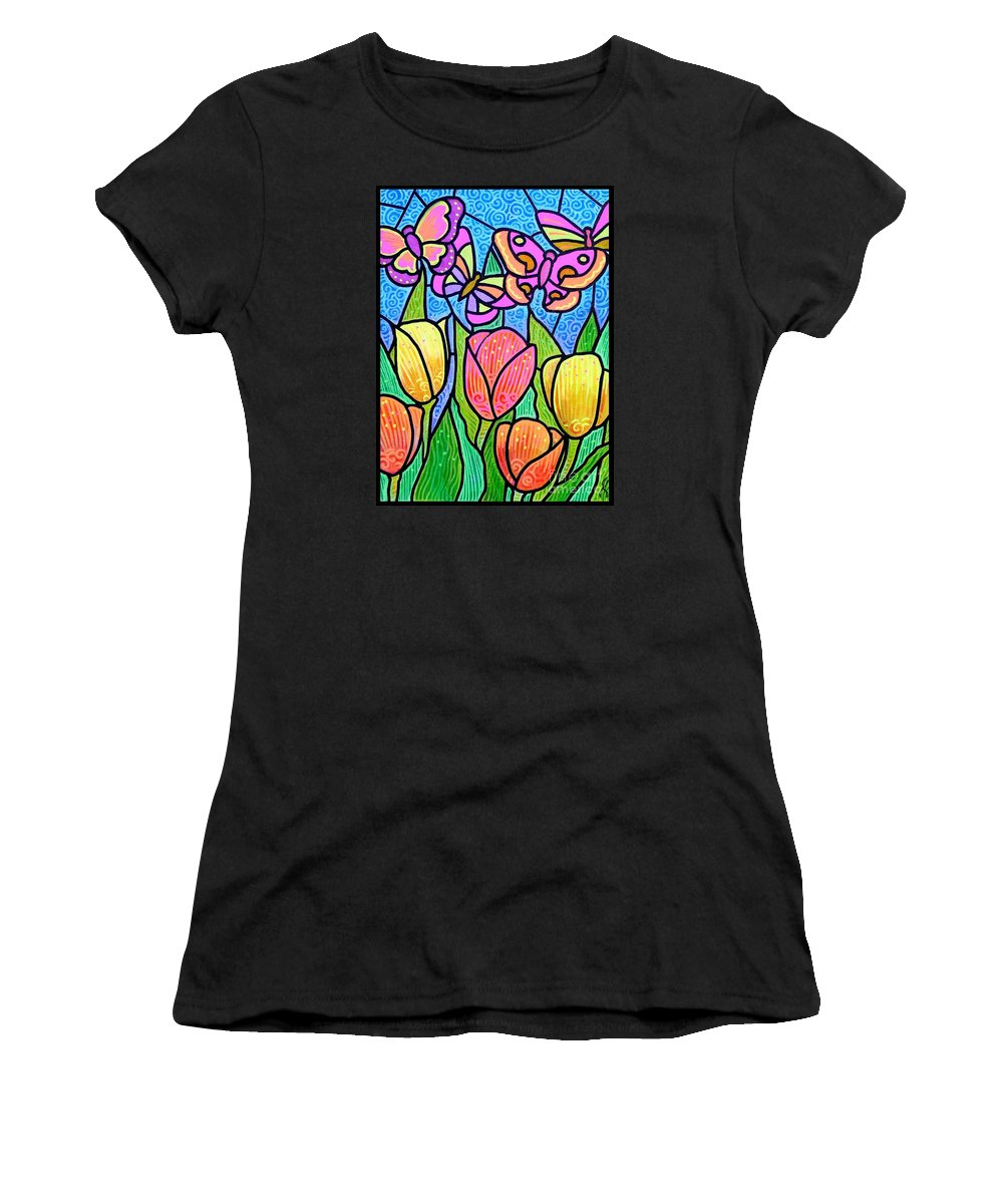 Butterflies Women's T-Shirt (Athletic Fit) featuring the painting Butterflies In The Tulip Garden by Jim Harris