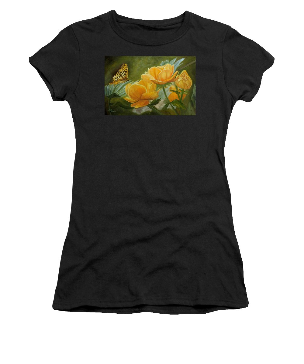 Butterfly Women's T-Shirt featuring the painting Butterfly Among Yellow Flowers by Angeles M Pomata