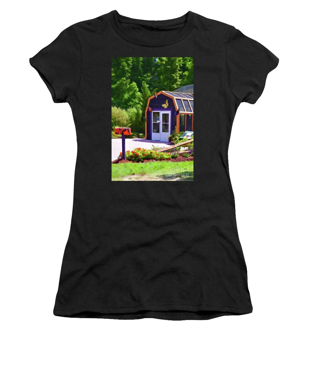 Architecture Women's T-Shirt (Athletic Fit) featuring the painting Butterfly House 2 by Jeelan Clark