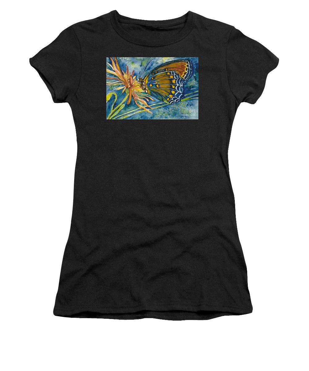 Butterflies Women's T-Shirt featuring the painting Butterfly In Ca by Norma Boeckler