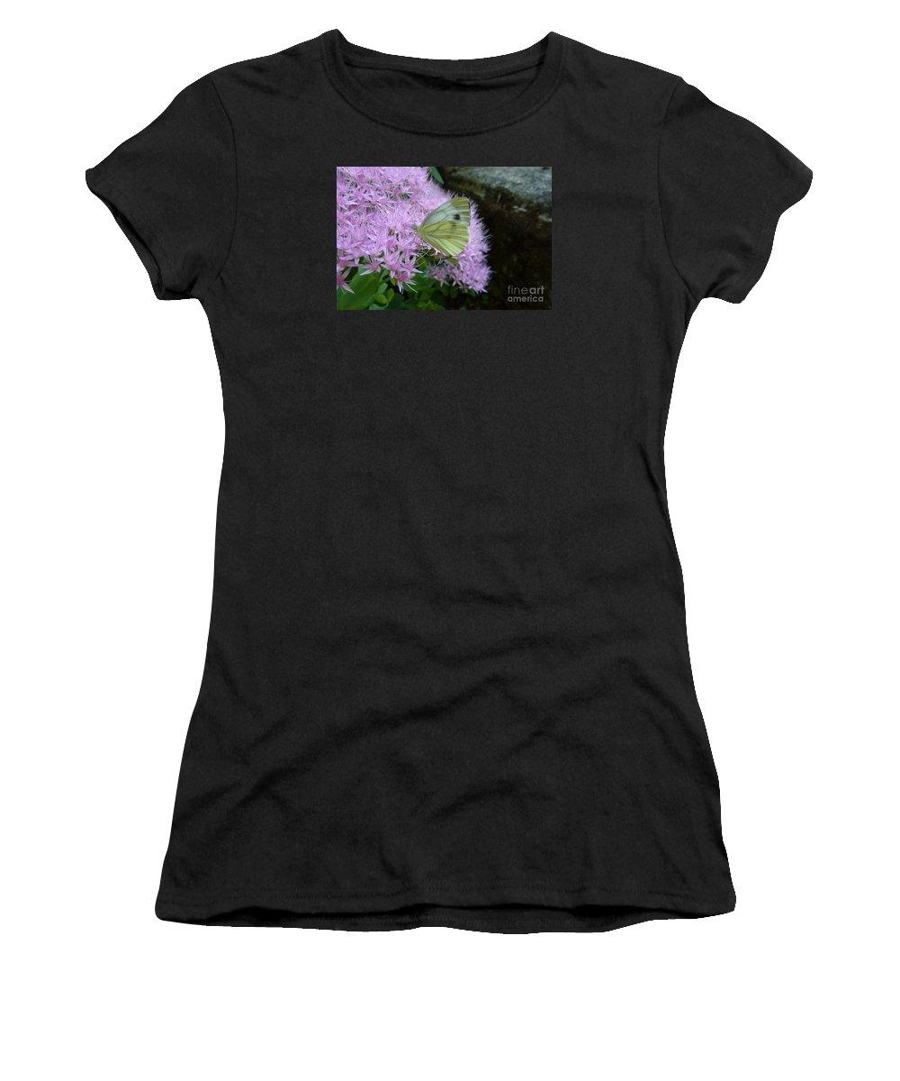 Artistic Women's T-Shirt featuring the photograph Butterfly On Mauve Flowers by Jean Bernard Roussilhe