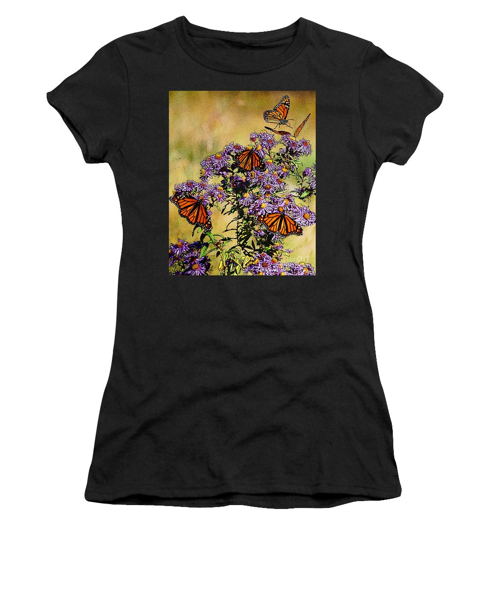 Diane Berry Women's T-Shirt (Athletic Fit) featuring the drawing Butterfly Party by Diane E Berry