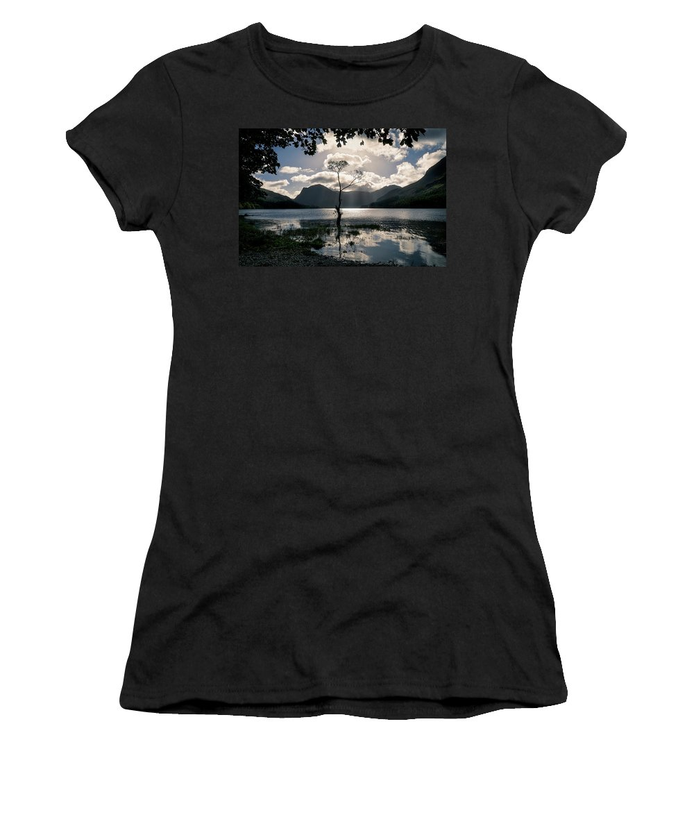 Buttermere Women's T-Shirt (Athletic Fit) featuring the photograph Buttermere Tree by Graham Moore