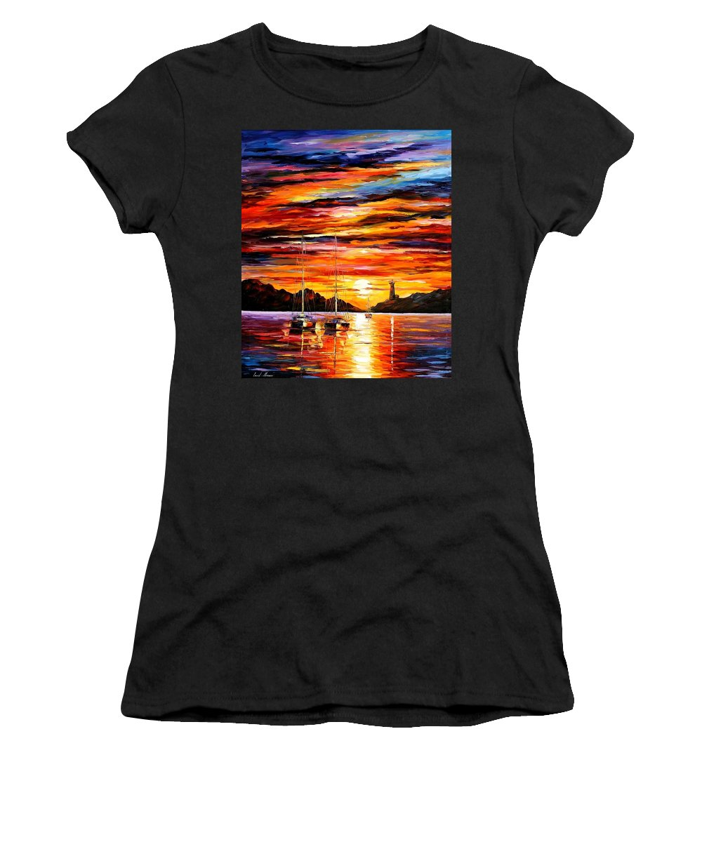 Afremov Women's T-Shirt (Athletic Fit) featuring the painting By The Entrance To The Harbor by Leonid Afremov