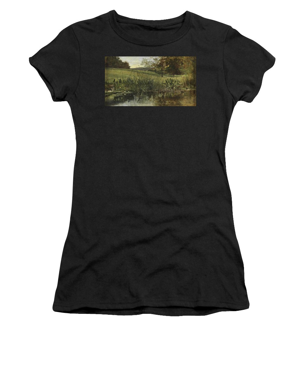 By The Riverbank Women's T-Shirt (Athletic Fit) featuring the painting By The Riverbank, 1869 by Heywood Hardy