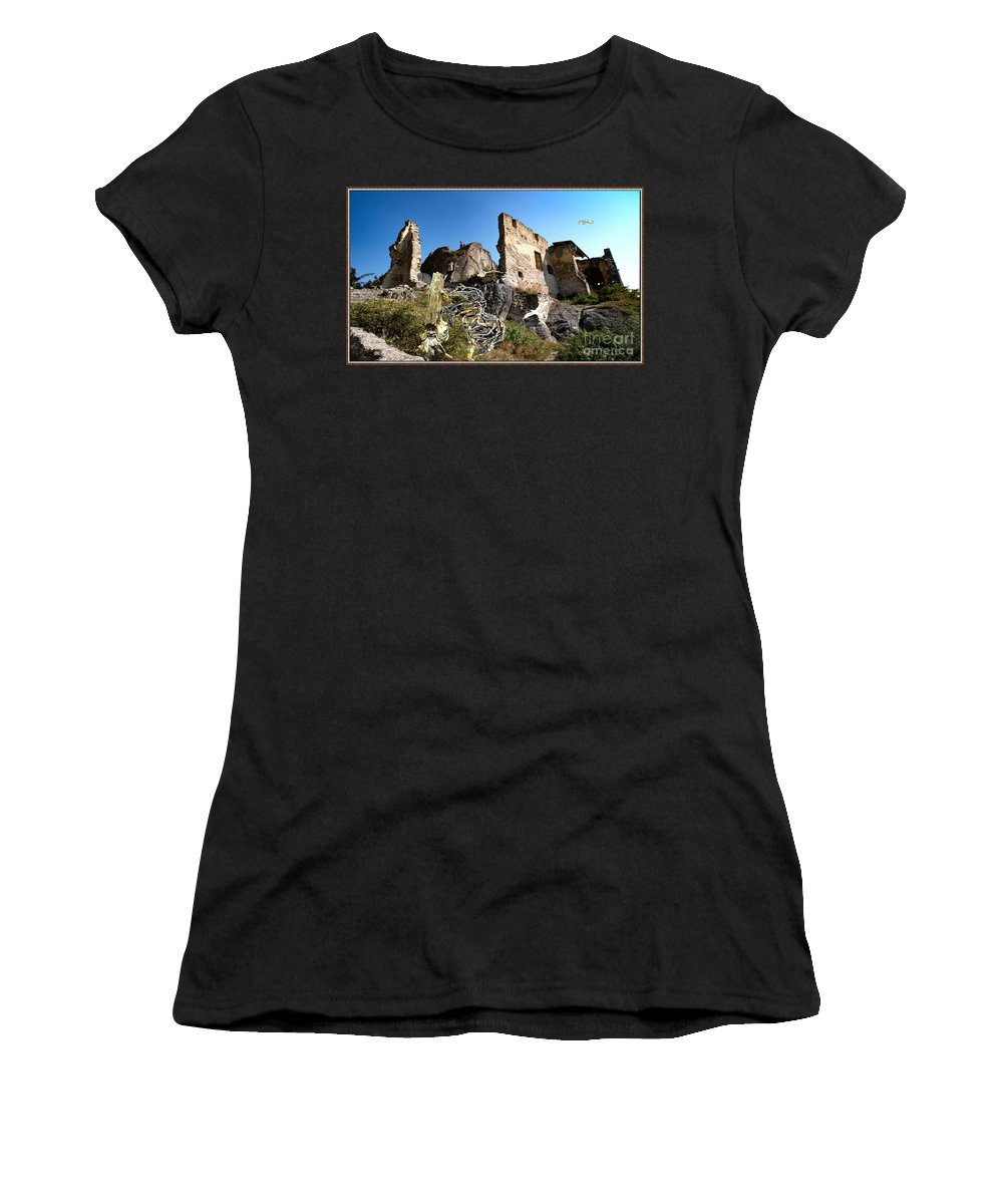 Modern Painting Women's T-Shirt featuring the mixed media By The Ruins 21 by Pemaro