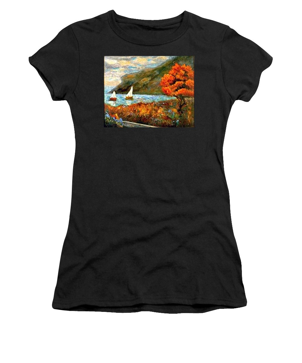 Sea Women's T-Shirt featuring the painting By The Sea by Gail Kirtz