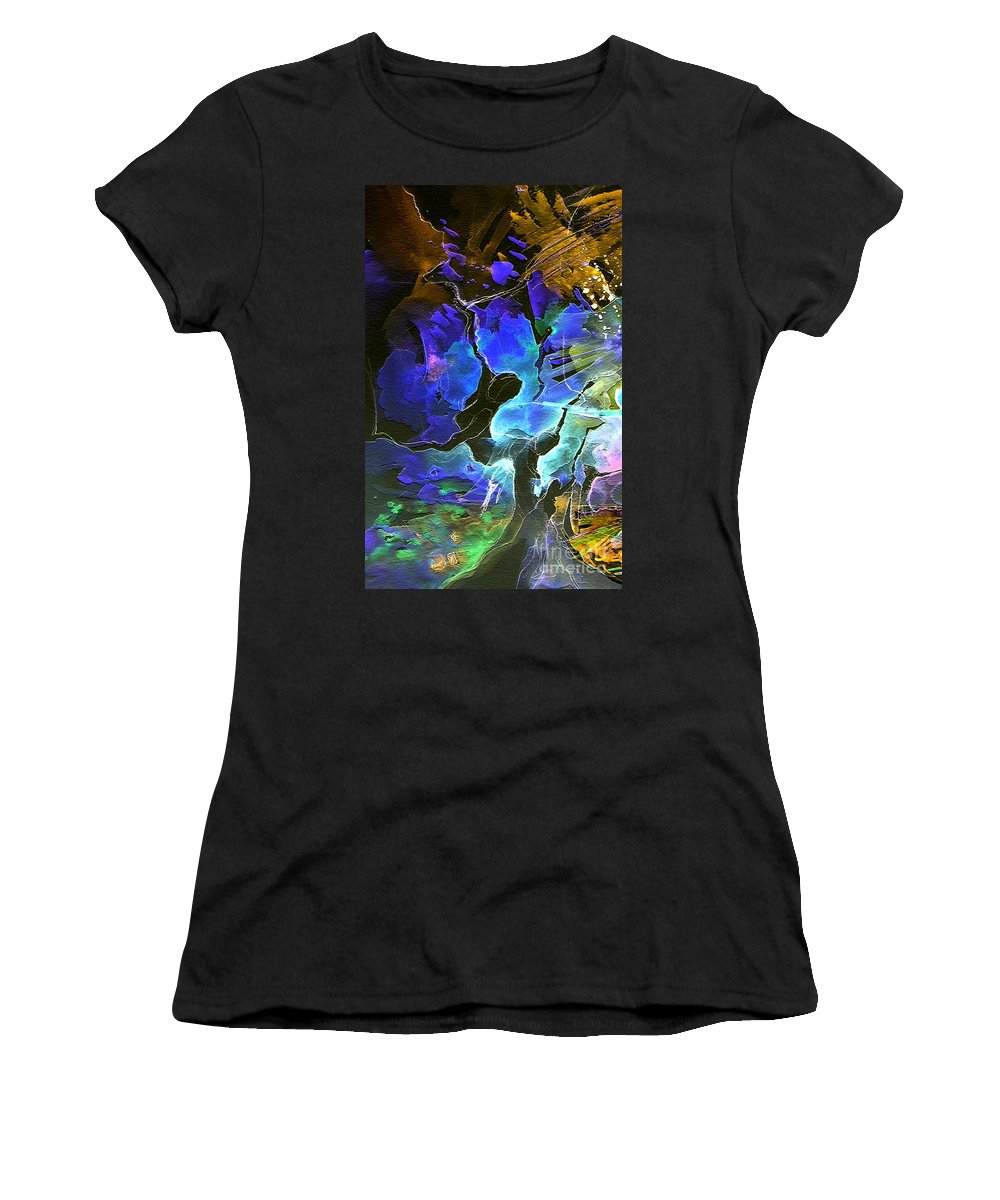 Miki Women's T-Shirt (Athletic Fit) featuring the painting Bye by Miki De Goodaboom