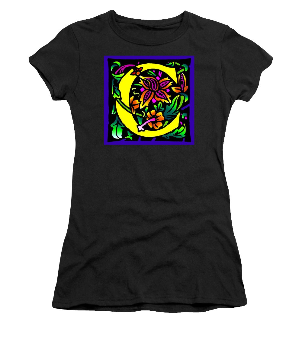 Alphabet Women's T-Shirt (Athletic Fit) featuring the digital art C In Yellow by Kathleen Sepulveda