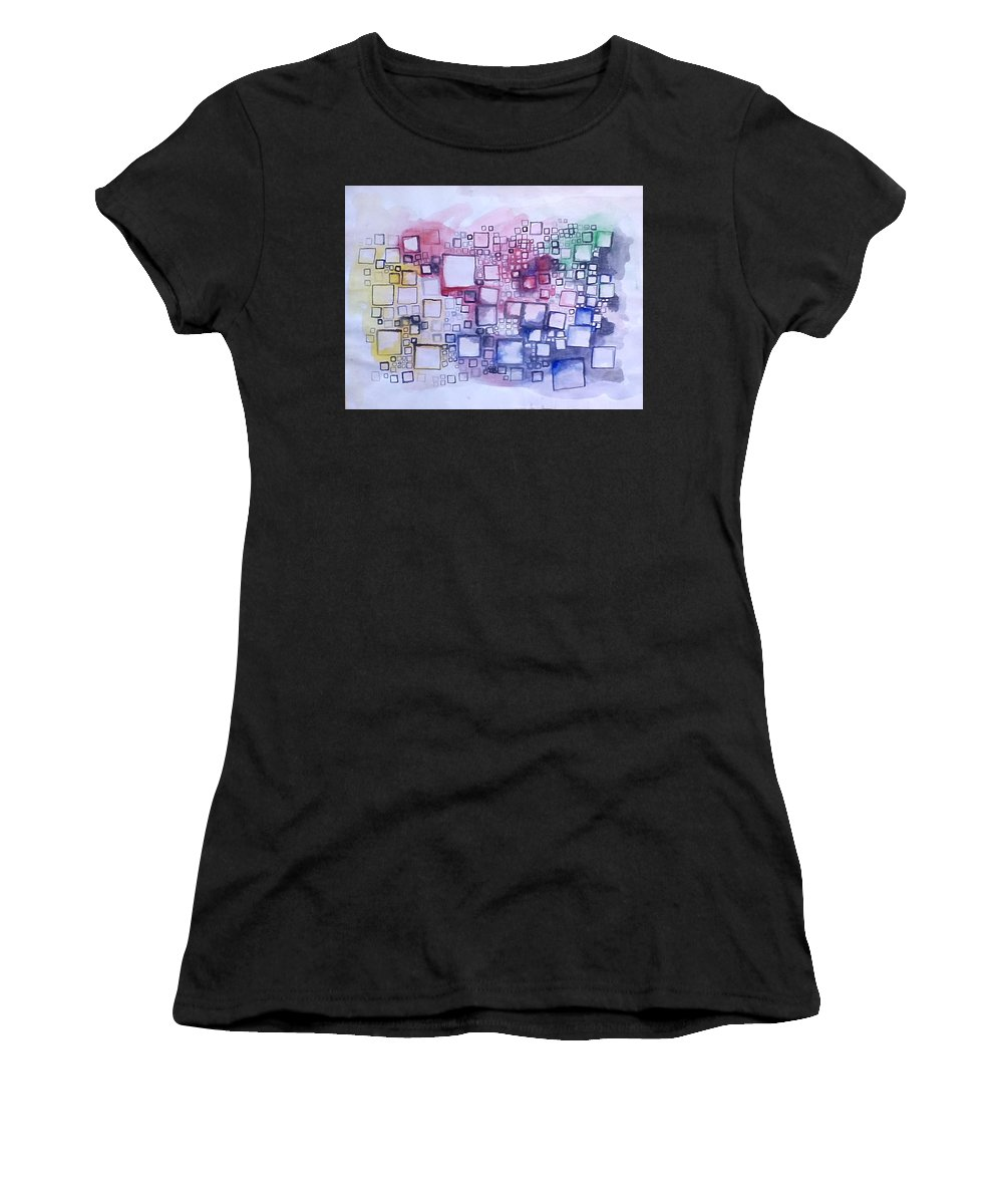 Abstract Women's T-Shirt (Athletic Fit) featuring the painting C4 by Aleksandra Plavsic