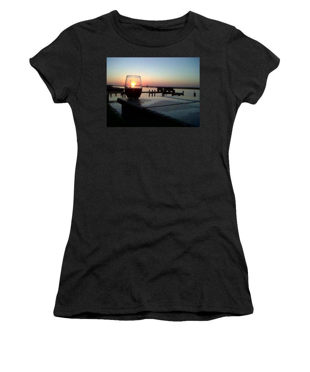Sunset Wine Cabernet Ocean Dock Women's T-Shirt (Athletic Fit) featuring the photograph Cabernet Sunset by Cindy New