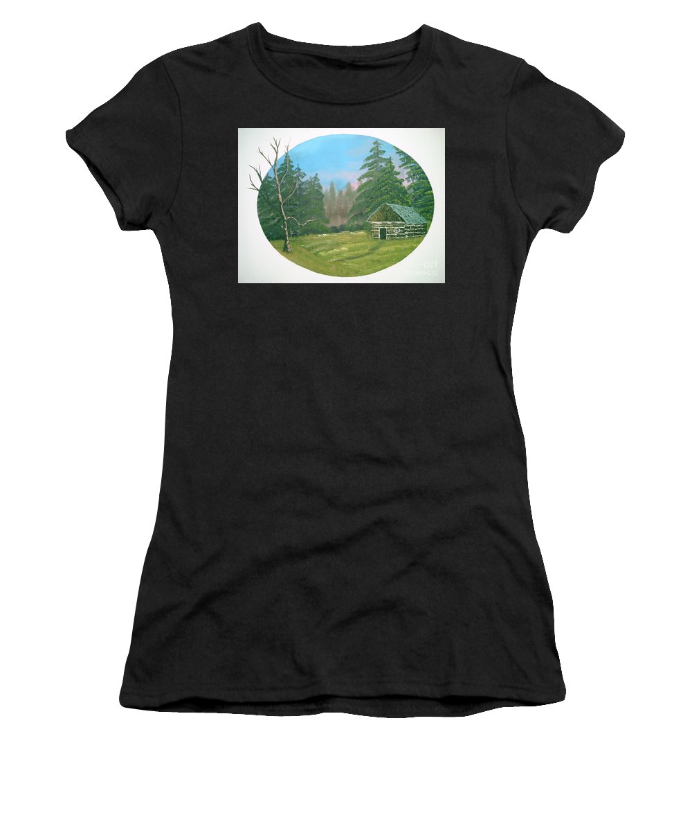 Landscape Women's T-Shirt (Athletic Fit) featuring the painting Cabin In The Meadow by Jim Saltis