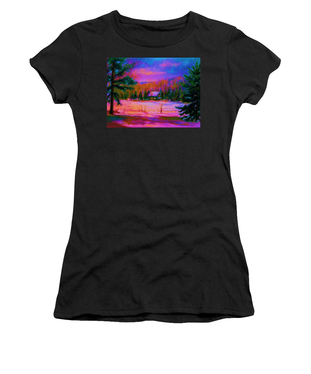 Winterscenes Women's T-Shirt (Athletic Fit) featuring the painting Cabin In The Woods by Carole Spandau