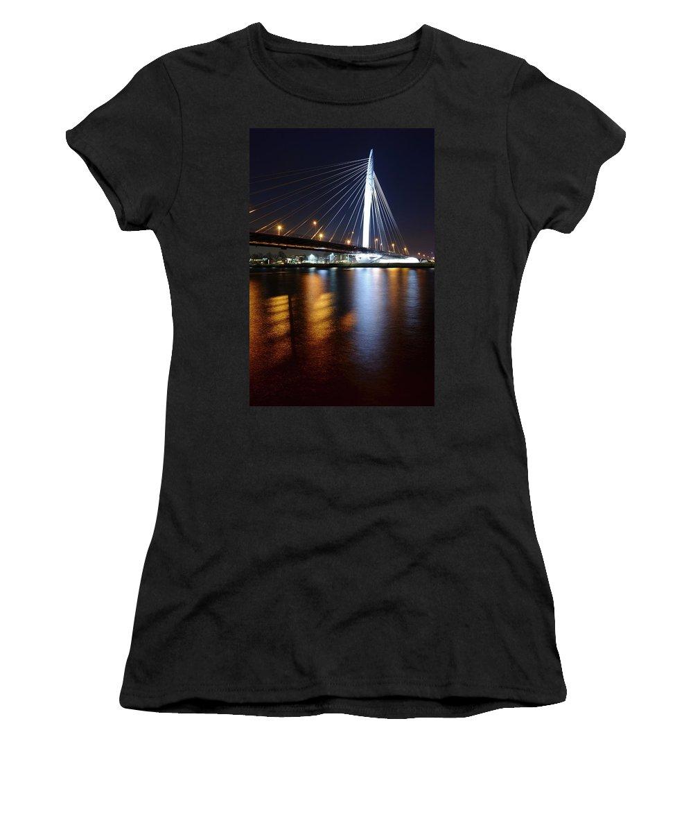 Bridge Women's T-Shirt (Athletic Fit) featuring the photograph Cable-stayed Bridge Prins Clausbrug In Utrecht At Night 22 by Merijn Van der Vliet