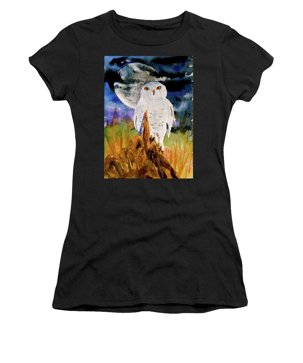 Watercolor Women's T-Shirt featuring the painting Cacciatore Di Notte by Beverley Harper Tinsley