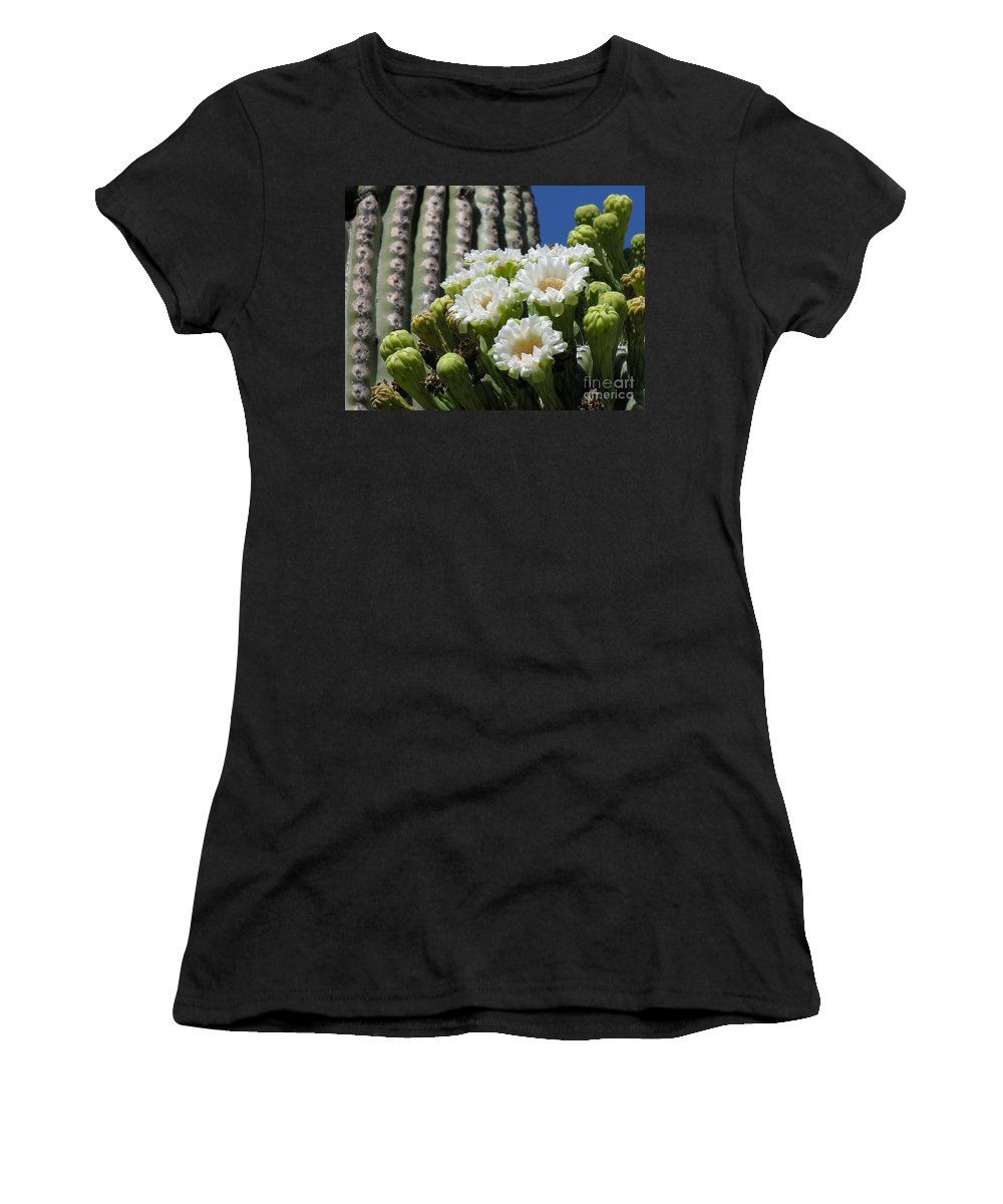 Cactus Women's T-Shirt (Athletic Fit) featuring the photograph Cactus Budding by Diane Greco-Lesser