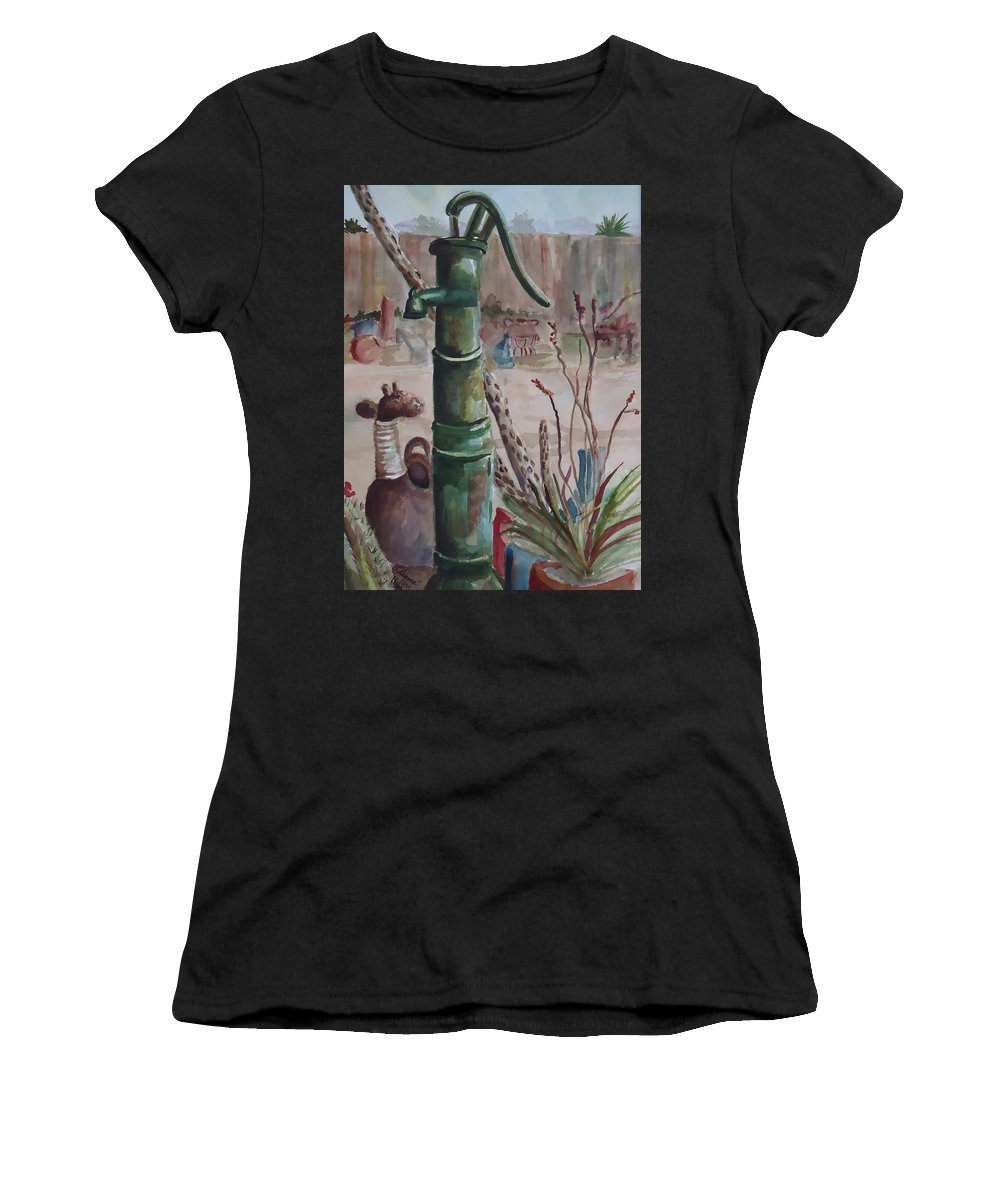 Landscape Women's T-Shirt featuring the painting Cactus Joes' Pump by Charme Curtin