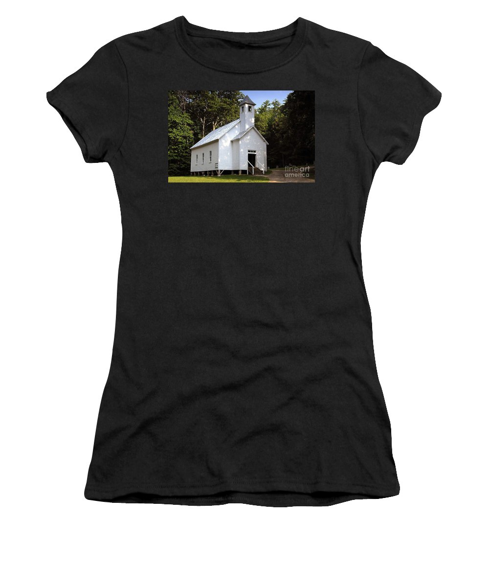 Baptist Women's T-Shirt (Athletic Fit) featuring the photograph Cades Cove Baptist Church by David Lee Thompson