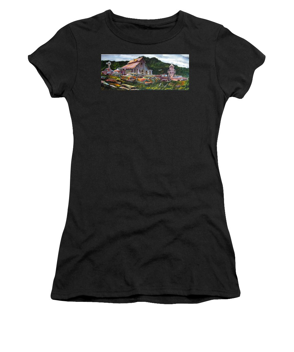 Cadillacs Women's T-Shirt (Athletic Fit) featuring the painting Cadillac Ranch by Ron Morrison