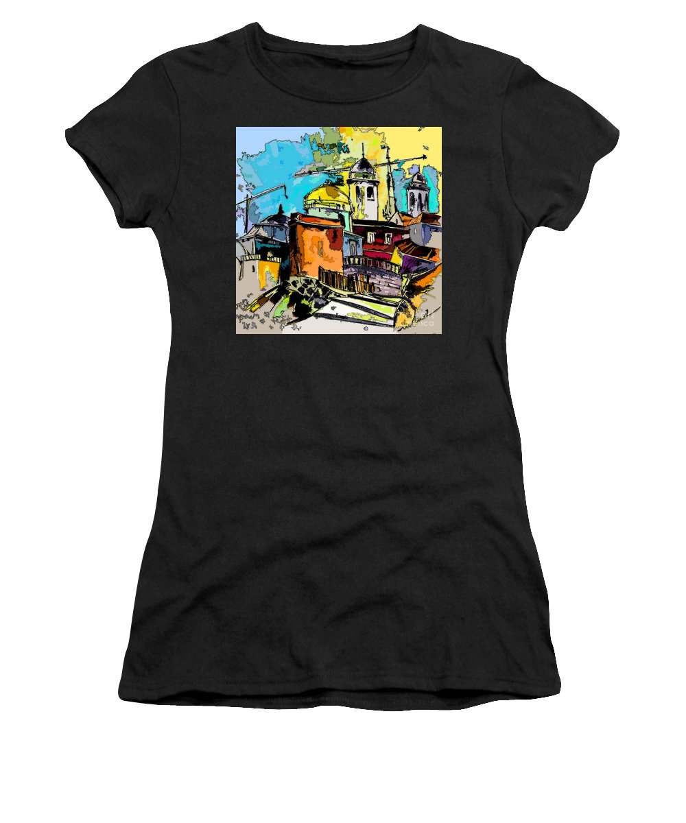 Spain Painting Cadiz Andalusia Women's T-Shirt (Athletic Fit) featuring the painting Cadiz Spain 02 Bis by Miki De Goodaboom