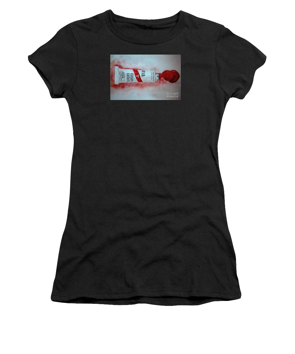 Tube Of Paint Women's T-Shirt (Athletic Fit) featuring the painting Cadmium Red by Ron Bissett