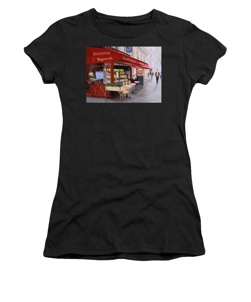 Cafe Women's T-Shirt (Athletic Fit) featuring the painting Cafe 4 by Jay Johnson