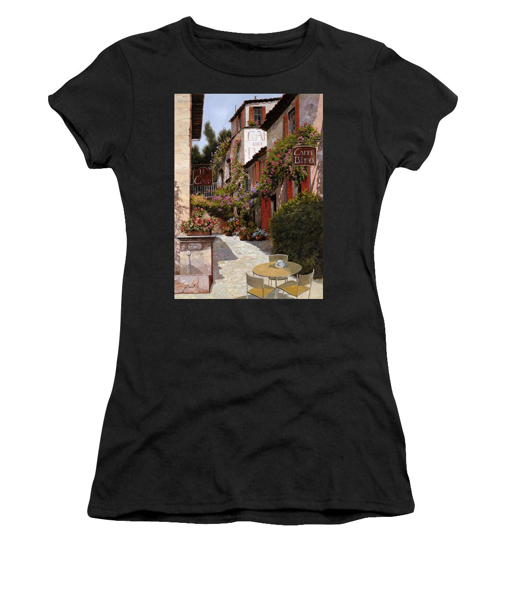 Cafe Women's T-Shirt featuring the painting Cafe Bifo by Guido Borelli